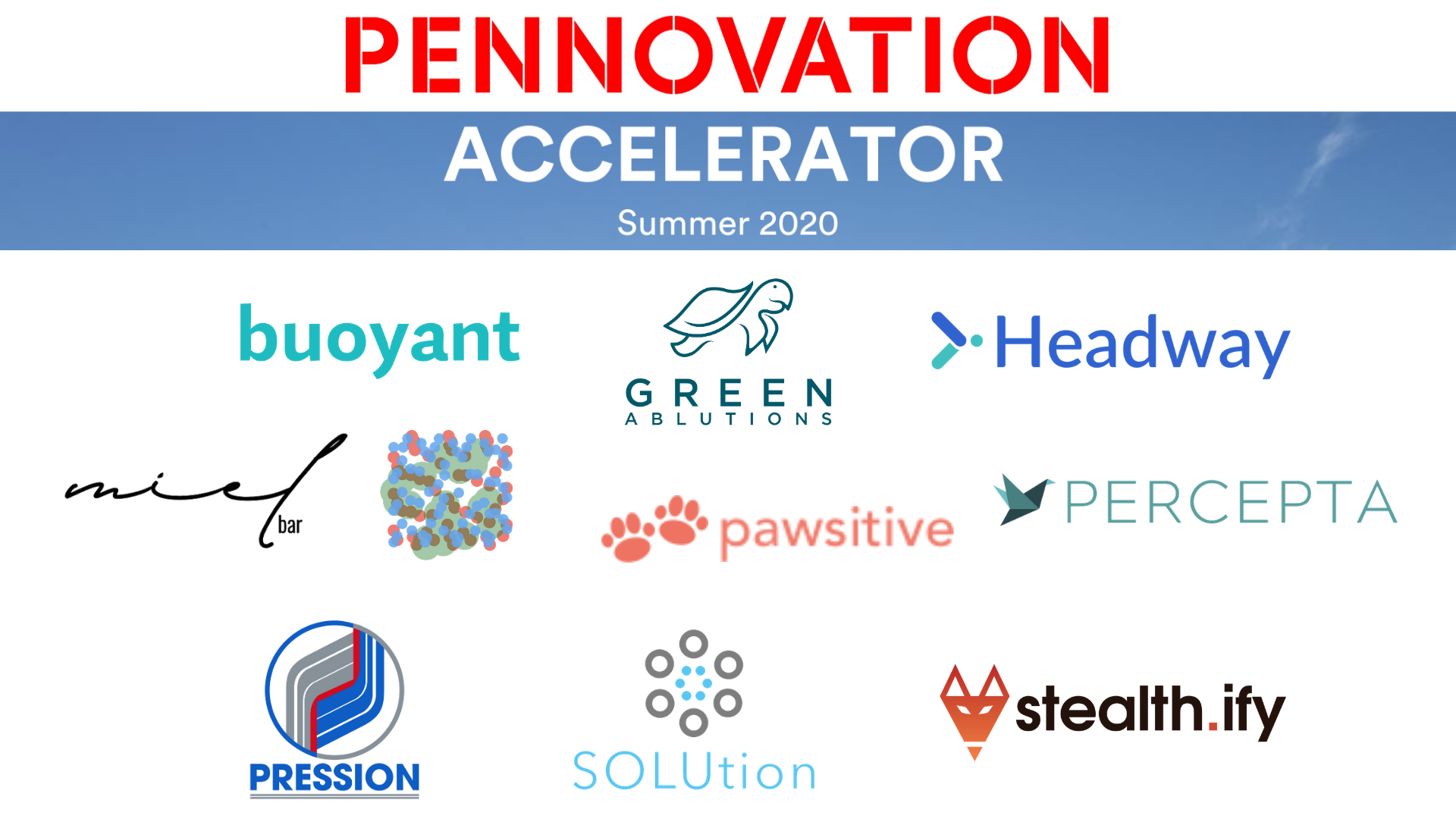 logos of each of the ten companies participating in the pennovation accelerator