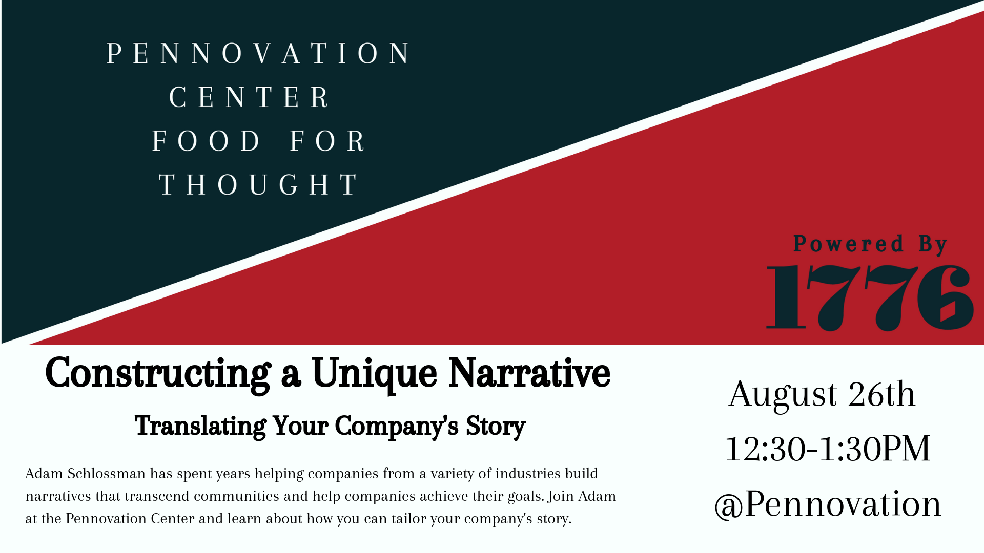 Pennovation Center Food for Thought August 26, 2019