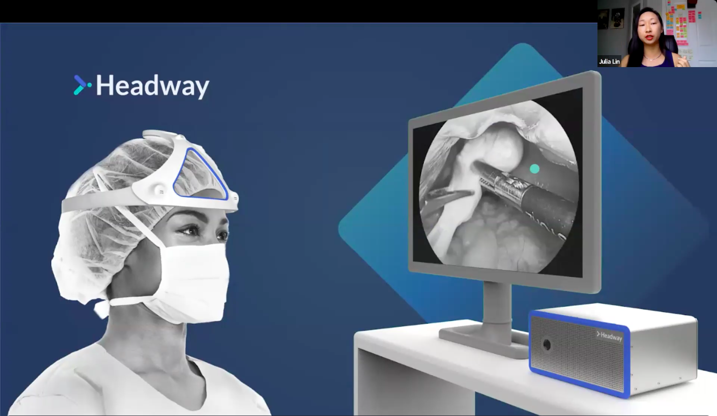 screenshot of Headway's pitch with a small photo of Julia Lin in the corner and a rendering of their product in the OR