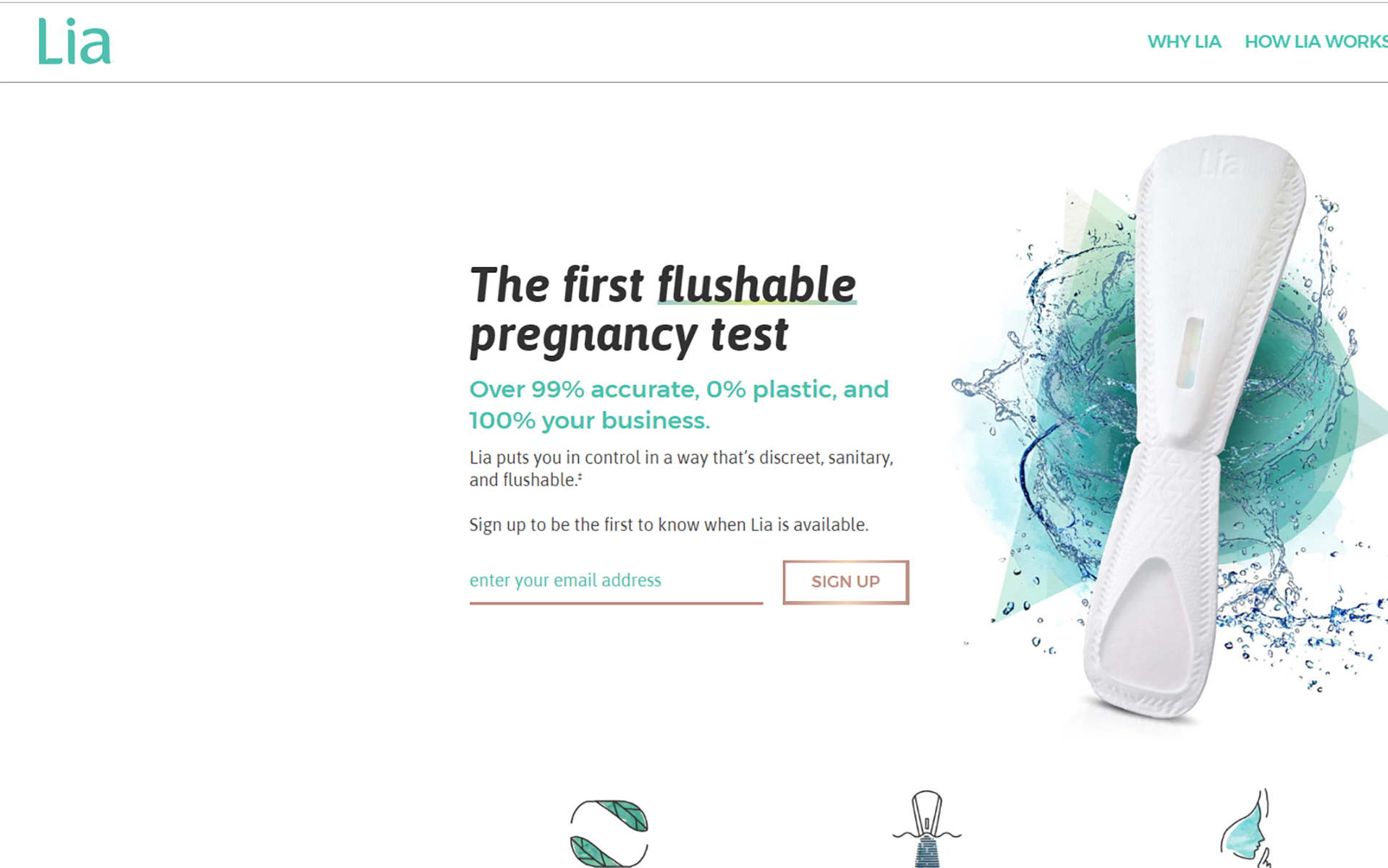 Lia homepage with image of test device