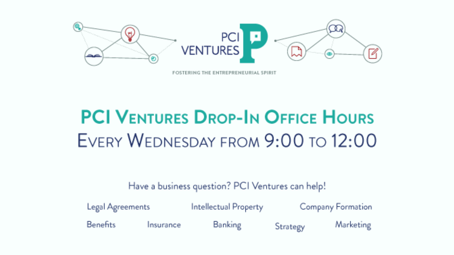 PCIV Office Hours graphic with logo and topics covered