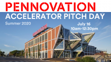photo of the Pennovation Center with the name of the event in text