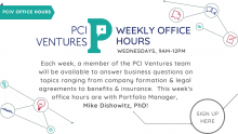 PCIV logo and words describing the office hours session
