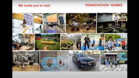 screenshot of a slide from the presentation with photos from events on the Pennovation campus