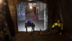 Image of a robot detecting artifacts inside an old mine