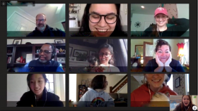 screenshot of a video conference with small photos of people's faces
