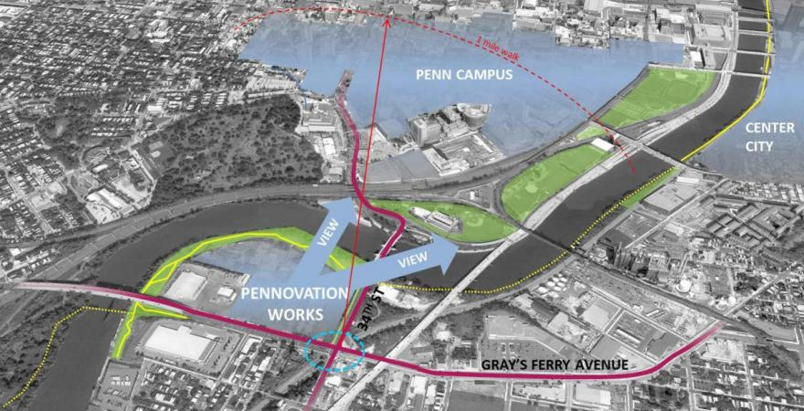 Pennovation Works site in relationship to Penn campus and Center City Philadelphia