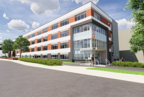 Render of exterior of Pennovation Lab