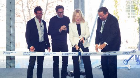 Penn Pres Amy Gutmann cuts ribbon officially opening Pennovation Center